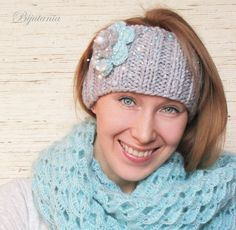 """Купить Повязка на голову """"Весна"""" - повязка на голову, повязка с цветком, повязка вязаная, bijutania"""