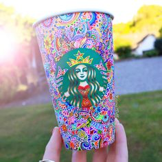 Incredible decorated starbucks cup! Beautiful! Colors