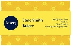 Yellow Modern Creative Flowers bakery business card for a bakery that is that bit more sophisticated Flowers Bakery, Bakery Business Cards, Yellow, Creative, Modern, Trendy Tree, Gold