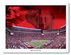 Black Friday Special - A brand new Alabama Football Print, available in two sizes. $5 off. Now through midnight Friday only!   http://collegefootballartprints.com/product/defender-of-the-tide-alabama-bryant-denny-elephant-print/