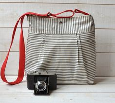 water proof stockholm diaper bag gray and ecru ticking striped pleated french messenger