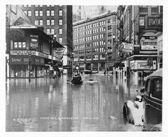 The worst flood in Pittsburgh history started on St. Patrick's Day in 1936. The waters peaked at 46 feet. We found this photo of 5th Ave. and Market Street, taken on March 18, 1936.  Photo from the Allegheny Conference on Community Development Photographs, Detre Library & Archives, Heinz History Center.