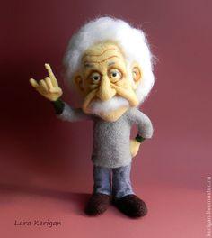 Купить Эйнштейн - эйнштейн, физика, портрет, авторская игрушка, валяная игрушка, человек, наука, ученый