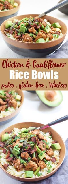 Chicken & Cauliflower Rice Bowls from Living Loving Paleo! | Loaded with chicken, bacon, asparagus, cauliflower rice, avocado, and the most delicious spices, this one-pan meal will be a new favorite! paleo, gluten-free, Whole30 friendly, 21dsd, grain-free and dairy-free Chicken Cauliflower, Chicken Bacon, Rice Bowls, One Pan Meals, Grain Free, Asparagus, Whole30, Paleo Diet, Grains