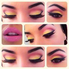 Pink, yellow eyeshadow make-up Pretty Makeup, Love Makeup, Beauty Makeup, Makeup Looks, Hair Makeup, Hair Beauty, Pink Makeup, Elegant Makeup, Makeup Style