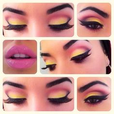 Pink, yellow eyeshadow