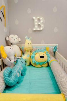 QUARTO DE BEBE VERDE E AMARELO: FOTOS E IDEIAS DE DECORAÇÃO Baby Bedroom, Baby Boy Rooms, Baby Room Decor, Baby Boy Nurseries, Baby Cribs, Nursery Room, Kids Bedroom, Yellow Nursery, Kid Beds