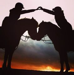 Sunset horseback riding ♥ haha as if we could ever line up any of ours to do this.