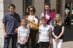 JacobiteHeritage:  Hereditary Prince Alois of Lichtenstein with his family-wife Sophie, Princes Joseph Wenzel, Nicholas, George, and Princess Marie-Caroline