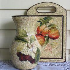 Купить Вазы ручной работы. Стеклянная ваза Фрукты и ягоды - бежевый, ваза для цветов