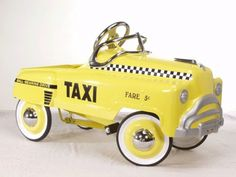 Taxi sedan is just like the original pedal cars made of heavy gauge steel and is ready for hours of play.