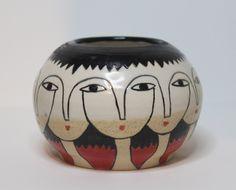 Eleven heads- Black-White-Red Ceramic Pot -. £48.00, via Etsy.