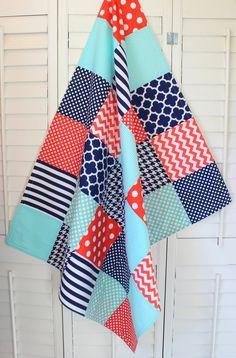 Baby Blanket, Unisex Patchwork Baby Blanket, Gender Neutral Nursery, Photo Prop, Crib Blanket, Coral, Tiffany Blue, Mint Green, Navy Blue
