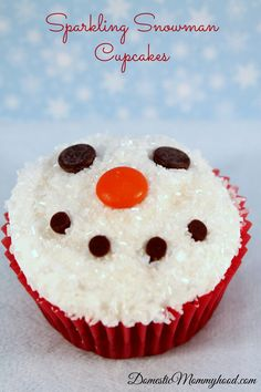Sparkling snowman cupcakes recipe & how to...perfect for when you're watching Frosty the Snowman!!!