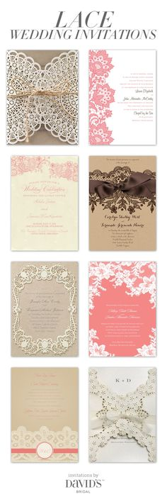 """It doesn't get lovelier than lace! Our lace wedding invitations say """"classic"""" with style."""