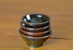 Brown & Black Dipping Set, Hand Thrown Porcelain Pottery, Handmade Ceramic, Sushi Set  | Caldwell Pottery