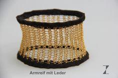 Armreif Silberdraht vergoldet - Leder www.atelier-zellhuber.de