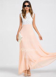 Vestidos Chique Reto Longo de Renda Sem magas (1160239) @