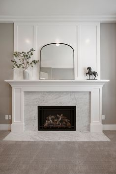 Brick Fireplace Makeover, Fireplace Design, White Mantle Fireplace, Fireplace Ideas, Brick Fireplace Remodel, Fireplace Molding, Fireplace Feature Wall, Simple Fireplace, Custom Fireplace