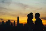 Sunset Couple profile in sun set in New York city for a Brooklyn Wedding