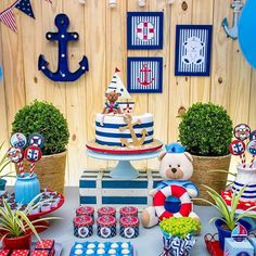 ideas for baby shower boy nautical fun Sailor Birthday, Sailor Party, Baby Boy 1st Birthday, Boy Birthday Parties, Baby Shower Parties, Baby Shower Themes, Baby Boy Shower, Nautical Birthday Cakes, Nautical Cake