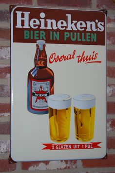 Emaille Bord Heineken (DUTCH) Vitreous Enamel Sign BEIR IN PULLEN (Dutch) Beer in Tankards