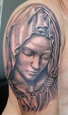 Virgin Mary, religion. Tattoo by Alex of StockholmInk Tattoo Studio, Stockholm Sweden