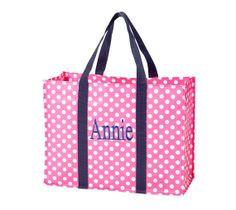 Tote Bag Personalized Polka Dot Aqua Hot by SewWonderfullyJamie, $14.75 Love anything Personalized!!! :) :)