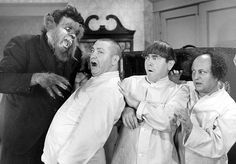 Idle Roomers Moe Howard, Larry Fine, Curly Howard, Christine McIntyre, Vernon Dent - Lupe the wolf man menaces the Three Stooges in a hotel! The Three Stooges, The Stooges, Moe Howard, Classic Tv, Classic Movies, Comedy Acts, Abbott And Costello, Laurel And Hardy, Classic Monsters