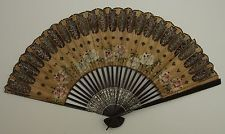 CHINESE ANTIQUE SMALL HAND HELD PAPER FAN PAINTED WITH FLOWERS