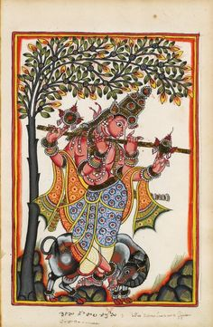 Venugopala (Krishna). S.Andrah Pradesh, c.1720. This name comes from the Sanskrit Vishnu came = flute, go = cow, and pala = one who keeps so: the shepherd.
