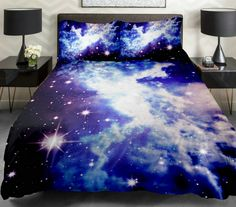 Anlye Galaxy Quilt Cover Galaxy Duvet Cover Galaxy Sheets Space Sheets Outer Space Bedding Set Bedspread with 2 Matching Pillow Covers (QUEEN)