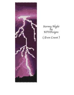 Even Count Peyote Graph | Peyote Bracelet Pattern - Stormy Night (Buy 2 Patterns - get a 3rd ...