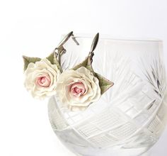 Polymer clay white rose earrings Beautiful by SilverSeagullArt