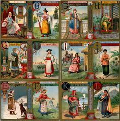 -s609- Alphabet, Women's Costumes A-L. 1900