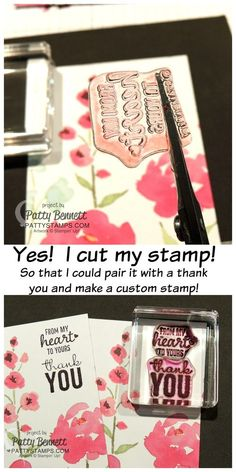 Scary? A little! I cut my stamp to customize it and combined it with another stamp.. love the results for my Thank You cards!