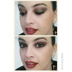 Quem disse que maquiagem com sombra marrom é sem graça? É só apostar numa sombra com brilho, como fez a @glauciapeixotosa, do Beauty Team da NYX Teresina. Para completar, batom vermelho poderoso!