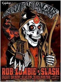 Rob Zombie Classic rock music concert psychedelic poster ~ ☮~ღ~*~*✿⊱  レ o √ 乇 !! ~