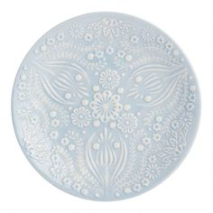 Prettily patterned with our exclusive Scandinavian-inspired abstract floral design, these frosty blue salad plates have texture on the front and a smooth Vinyl Record Storage, Lp Storage, World Market Store, Tv Stand Console, Branch Decor, Red Felt, Crackle Glass, Salad Plates, Mugs Set