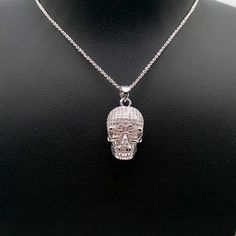 Fashion 925 Silver Skull Necklace &Pendant Women Halloween Jewelry Day Gift #Unbranded #CocktailHalloween #HalloweenParty