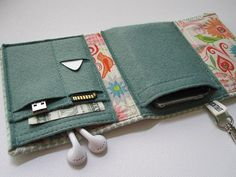 Nerd Herder 2.0 gadget wallet in Chic Celadon- iPod, Droid, iPhone, MP3, camera, earbuds, SD cards, USB, batteries, IDs, cards, phone
