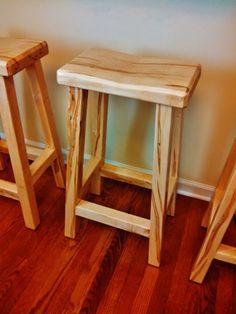 Horiozon Bar Stool Handmade Solid Wood Saddle Seat By RefabWood, $200.00