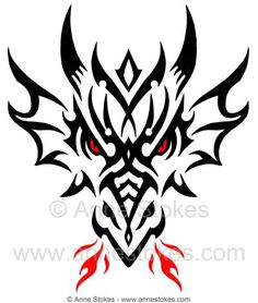Tribal Dragon Head by Anne Stokes | Tattoos | Pinterest