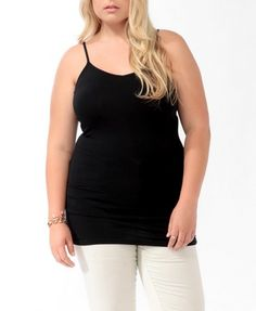 Forever 21 is the authority on fashion & the go-to retailer for the latest trends, styles & the hottest deals. Shop dresses, tops, tees, leggings & more! Plus Size Winter, Girl With Curves, Long A Line, Cami, Basic Tank Top, Latest Trends, Forever 21, V Neck, Tank Tops