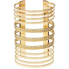 Charlotte Russe Stacked Cuff Bracelet ($6) ❤ liked on Polyvore featuring jewelry, bracelets, gold, gold bangles, stacking bangles, gold cuff bracelet, stackers jewelry and bangle cuff bracelet