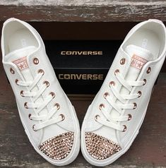d9152fbc0265 Ivory Converse Leather Low Top Cream Blush Pink Rose Gold Wedding Chuck  Taylor w  Swarovski Crystal Rhinestone Jewel All Star Sneaker Shoes