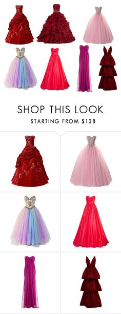 """red-pink dresses"" by redsnookie on Polyvore featuring Bob Mackie, Oscar de la Renta, Alexander McQueen and Marchesa"