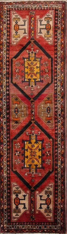 Antique Geometric Tribal Runner Heriz Persian Oriental Rug x Kitchen Rug, Oriental Rug, Rug Runner, Primary Colors, Persian, Bohemian Rug, Rugs, Antiques, Farmhouse Rugs