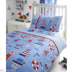 DOUBLE BED DUVET COVER SET EMBROIDERY BOATS BEACH HUT LIGHT HOUSE FISH FLAGS