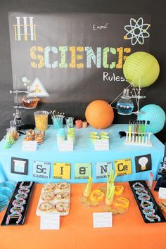 What's better than fun birthday party theme ideas for kids parties? Something that gets them excited to have the party and you fun to throw it? We've gathered a bunch of great kids birthday themes for you to check out! Kids Birthday Themes, 9th Birthday Parties, Birthday Fun, Mad Science Party, Mad Scientist Party, Festa Party, Spy Party, Party Decoration, Party Plan